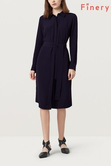 Finery French Navy Clematis Tie Waist Shirt Dress