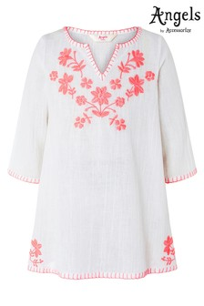 Angels by Accessorize White Embroidered Long Sleeve Kaftan
