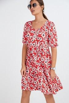 Button Front Scoop Neck Dress