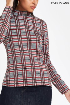 River Island Red Check High Neck Long Sleeve Top