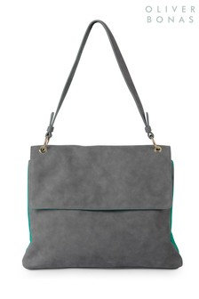 Oliver Bonas Grey/Green Willa Shoulder Bag