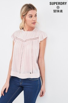 Superdry Pink Cutwork Top