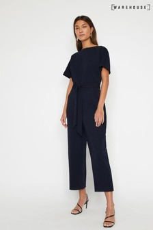 0ef5a3550d38 Warehouse Blue Slash Neck Jumpsuit