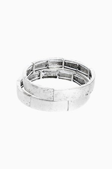 Brushed Effect Stretch Bracelet Two Pack