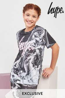 Hype. Black And Pink Marble Tee