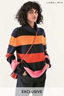 Mix/Madeleine Thompson Wide Stripe Roll Neck Knit Jumper