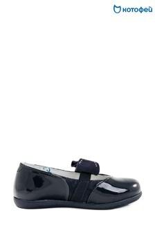 Темно-синие кожаные туфли с бантиком Kotofey
