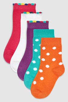 Spot Ankle Socks Five Pack (Older)