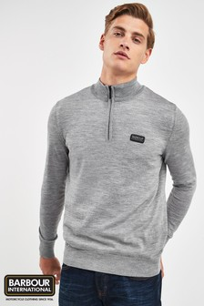 Barbour® International Grey Absorb Half Zip Sweat Top