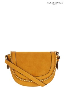 Accessorize Yellow Studded Saddle Bag
