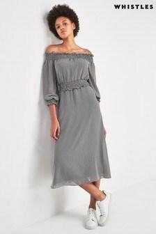 Whistles Black Verni Gingham Bardot Dress