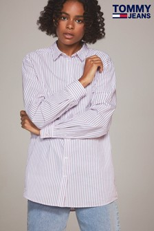 Tommy Jeans Purple Boyfriend Stripe Shirt