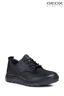 Geox Xunday Boy Black Leather Brogue Shoe