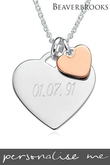 Personalised Silver and Rose Gold Plated Double Heart Pendant by Beaverbrooks