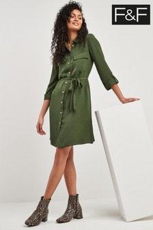 F&F Khaki Twill Shirt Dress