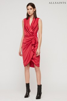 AllSaints Pink Cancity Wrap Dress