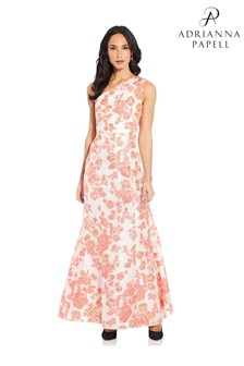 Adrianna Papell Pink Floral Jacquard Gown