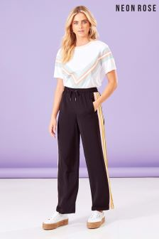 Neon Rose Black Pastel Wide Leg Sports Trouser