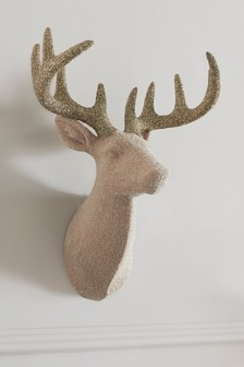 Glitter Encrusted Stags Head