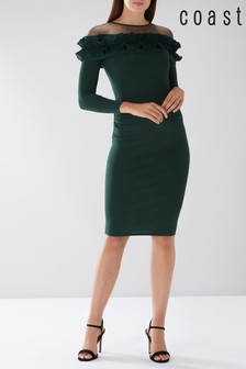Coast Green Francesca Ruffle Knit Dress