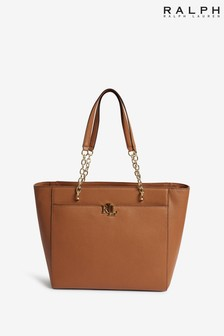 Ralph Lauren Leather Langdon Monogram Tote Bag