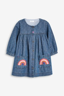 Button Through Rainbow Pocket Dress (3mths-7yrs)