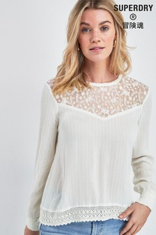 Superdry Cream Lace Top