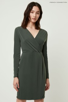 French Connection Green Slinky V-Neck Wrap Dress