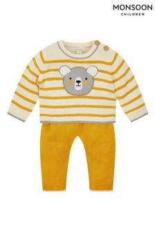Monsoon Yellow Newborn Bear Stripe Knit Set
