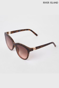 River Island Brown Print Glamerous Sunglasses