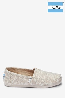68cd8255d6e TOMS Natural Daisy Embroidered Slip-On