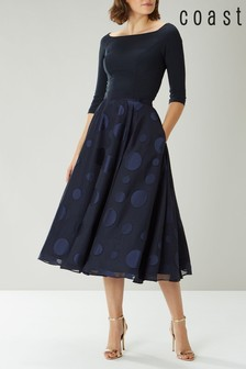 Coast Navy Ruth Large Spot Full Skirt