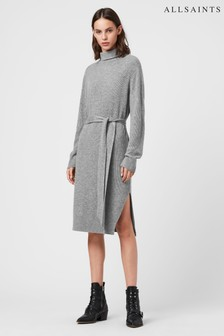 AllSaints Grey Roza Belted Jumper Dress