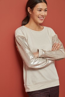 Sequin Sleeve Sweatshirt