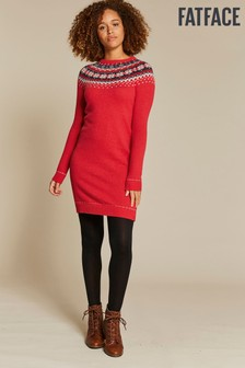 FatFace Red Maddison Yoke Jumper Dress