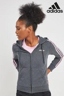 adidas Grey Heather 3 Stripe Zip Through Hoody