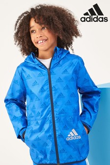 36309da38 adidas Blue Repeat Logo Wind Breaker Jacket