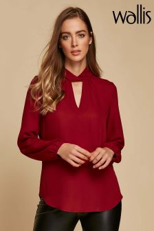 Wallis Burgundy Twist Neck Top