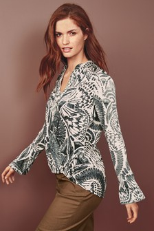 Wrap Front Long Sleeve Top