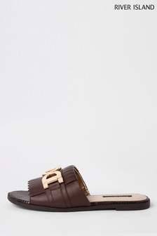 River Island Choc Peeptoe Backless Loafer