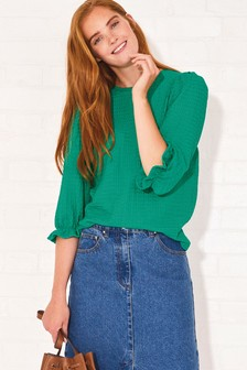 3/4 Sleeve Textured Top