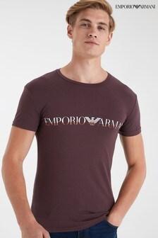 Emporio Armani Lounge Burgundy Logo T-Shirt