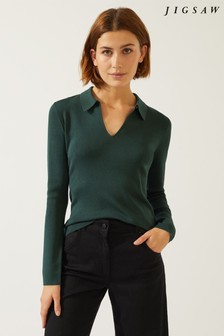 Jigsaw Silk Cotton Open Neck Jumper