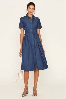 Oasis Blue Midi Shirt Dress