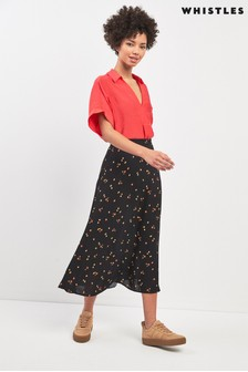 Whistles Micro Floral Print Longline Skirt