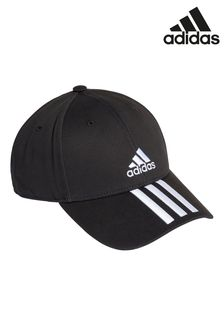 adidas Adult Black 3 Stripe Cap