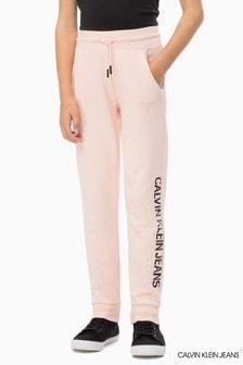 מכנסי טרנינג עם לוגו של Calvin Klein Jeans בצבע ורוד