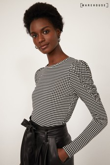 Warehouse Black Check Ruffle Sleeve Top