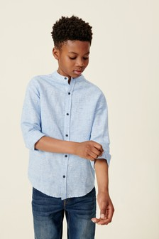 Long Sleeve Linen Mix Gingham Shirt (3-16yrs)