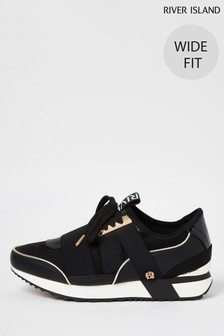 River Island Black W Pull-On Runner Trainers